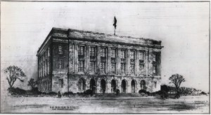 Rendering of the Las Vegas Post Office and Courthouse by William D. Hartgroves, 1930. Credit: National Archives and Records Administration, RG 121-BD-1241