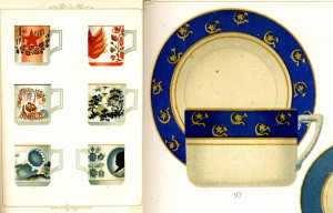 Various nationalistic symbols integrated with nature, figural, or floral folk art scenes/motifs. Katalog Farforu. Left: Pl. XI; right: Pl. XIII.